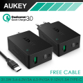 AUKEY QC 3.0 Wall charger,AiPower Technology Black 2 USB ports 5V3A EU/US Plug Wall Charger with Type C Cable For iPhone/Android