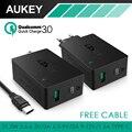 Aukey qc 3.0 cargador de pared, aipower tecnología negro 2 puertos usb 5V3A UE/EE.UU. Plug Cargador de Pared con Cable de Tipo C Para iphone/android