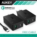 Aukey qc 3.0 carregador de parede, aipower tecnologia preto 2 portas usb 5V3A UE/EUA Plug Carregador de Parede com Cabo Tipo C Para iphone/android