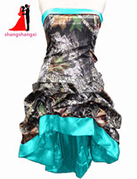 Hi-Lo Camouflage Bridesmaid Dresses Plus Size Wedding Party Gown Maid of Honor Camo Hi-Lo Prom Dress