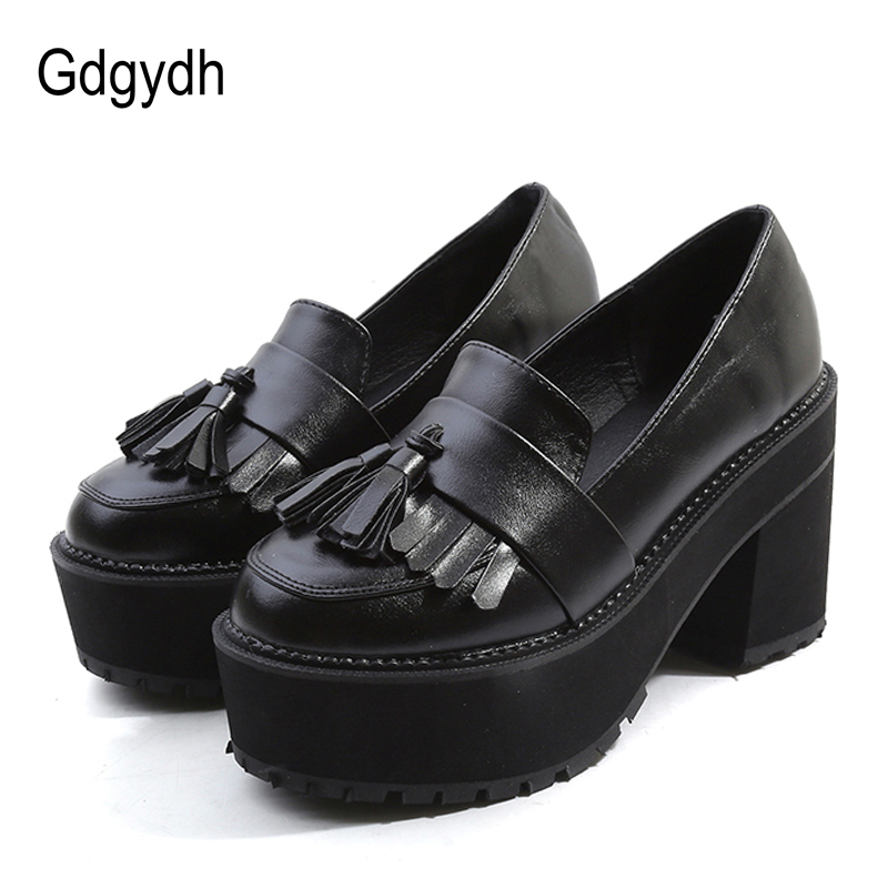 Gdgydh Fashion Platform Pumps Shoes High Heels Women Shoes Black 2018 Spring Autumn Slip On Round Toe Tassel Shoes Women ChinaGdgydh Fashion Platform Pumps Shoes High Heels Women Shoes Black 2018 Spring Autumn Slip On Round Toe Tassel Shoes Women China