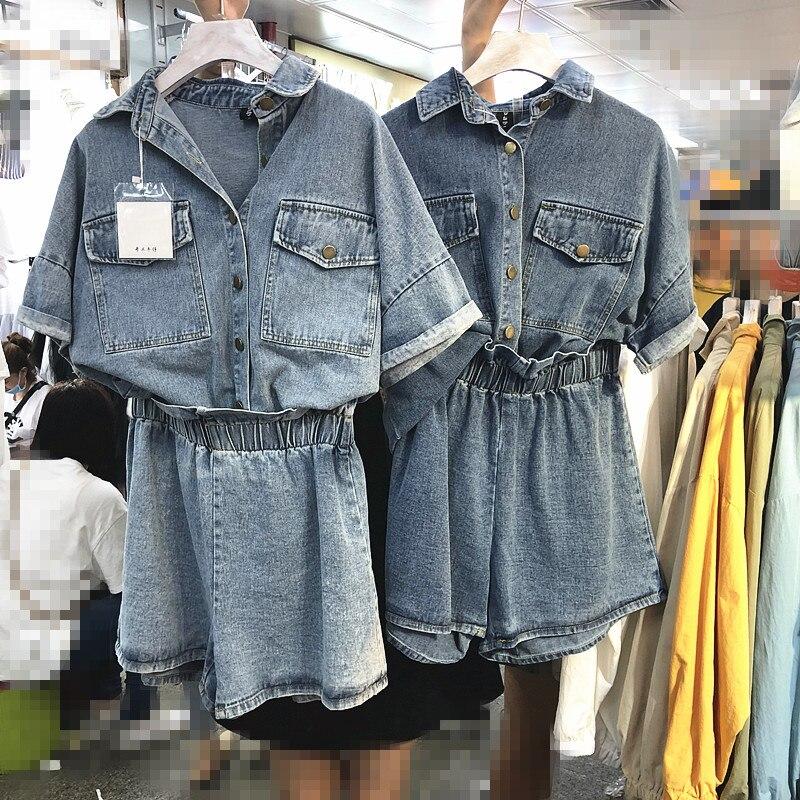2019spring Summer Denim Coat Set Women Short Sleeve Jeans Shirt Jacket + Wide legged Jean Shorts Sets Grils Lady Two piece Suit