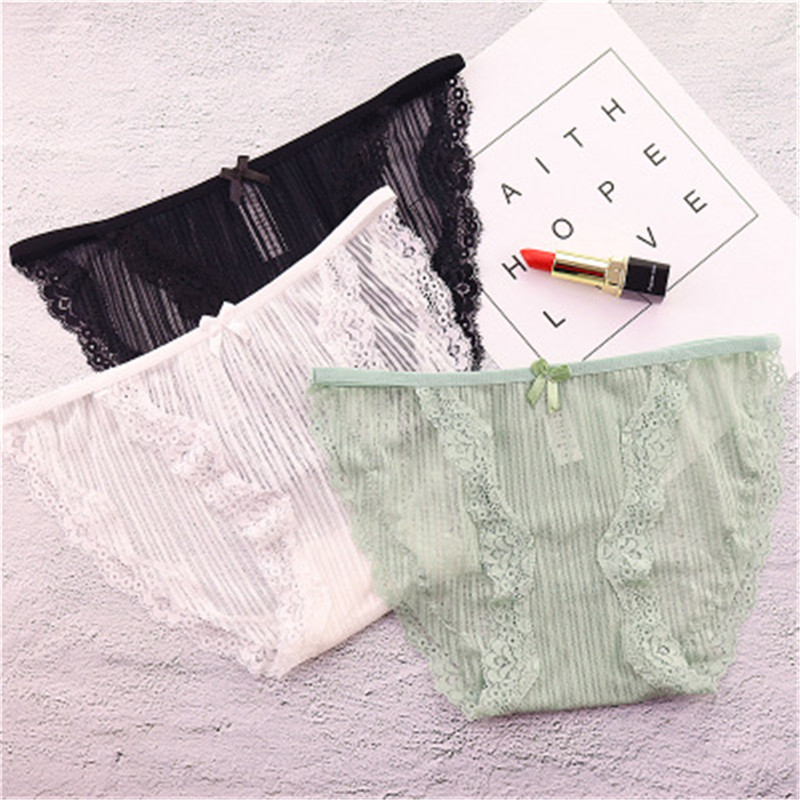Underwear Humorous New Cute 3pcs/lot Lace Transparent Sexy Panties Thong Soft Girl G-strings Kids Panties Seamless Short Briefs For Girls Underwear