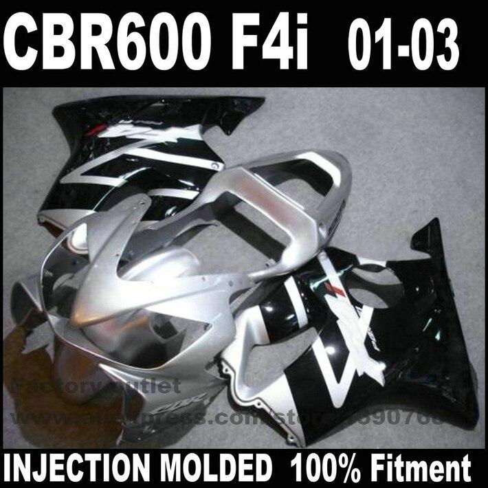 Kit de carénage de haute qualité moulé par INJECTION pour HONDA CBR 600 F4i 2001 2002 2003 argent noir carénages ensemble CBR600 01 02 03 NK49