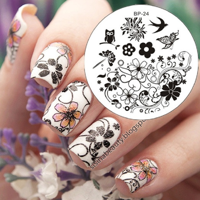 Aliexpress buy born pretty charming spring flower nail art born pretty charming spring flower nail art stamp template image plate stamping plate mightylinksfo