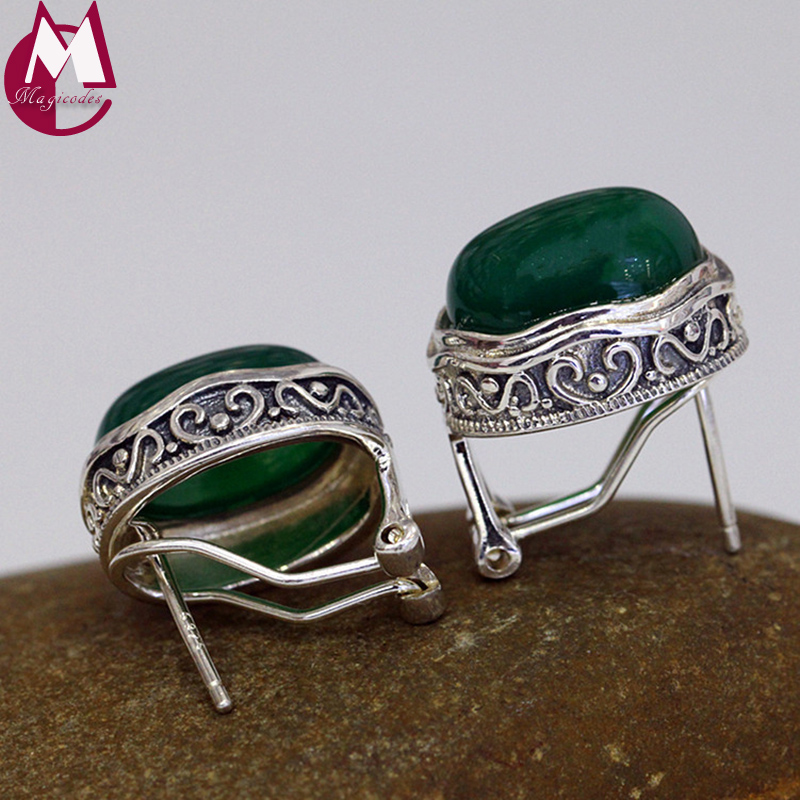 все цены на Gemstone Women Earrings 100% 925 Sterling Silver Stud Earrings Vintage Heart Green Agate Earrings For Women Fine Jewelry SE92 онлайн