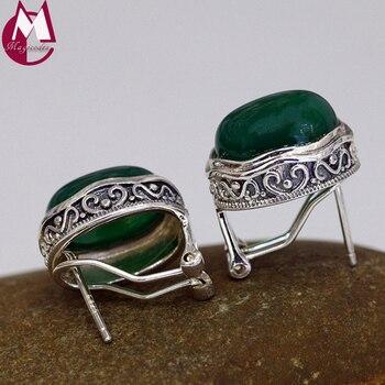 Gemstone Women Earrings 100% 925 Sterling Silver Stud Earrings Vintage Heart Green Agate Earrings For Women Fine Jewelry SE92 фото