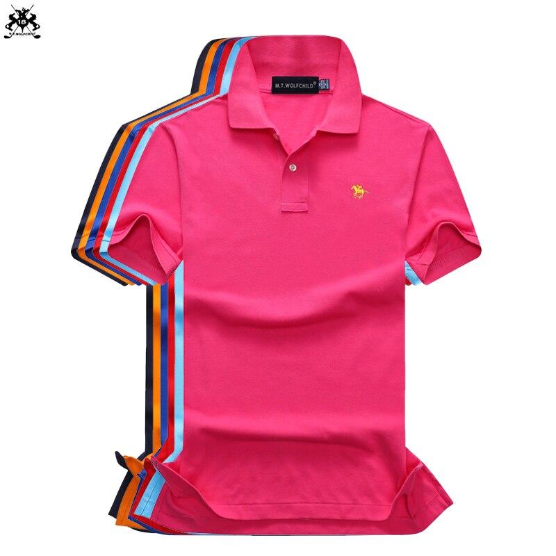 High quality 2018 Summer brand Mens short sleeve small horse polos shirts cotton mens lapel polos shirts fashion slim mens tops