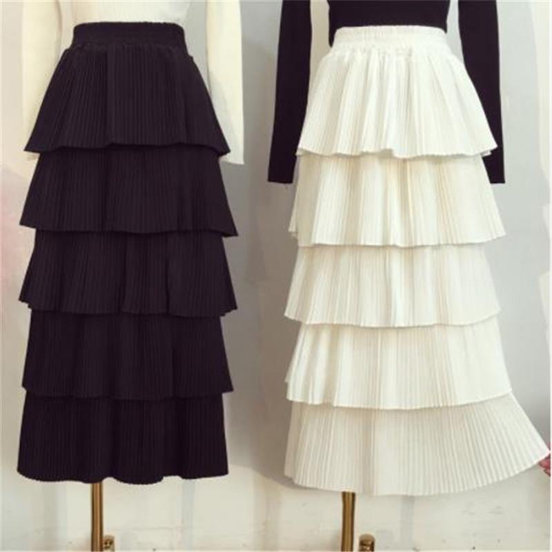2019 Hot Autumn And Winter New Arrival Korean Style Long Sweet Layer Skirt Elastic Waist Princess Ladies Skirts Free Shipping