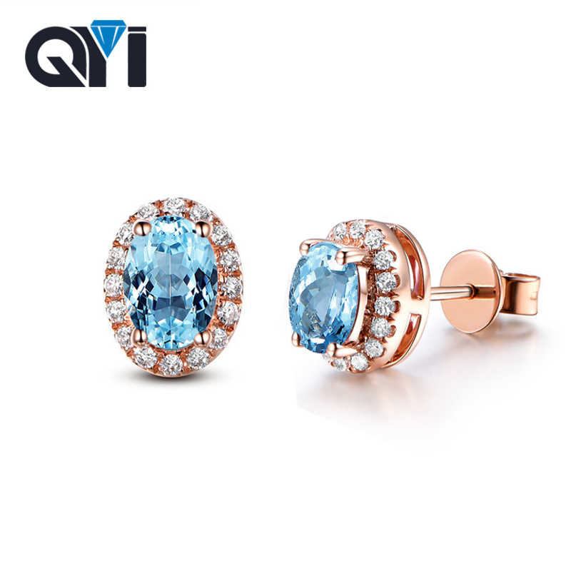 8b2609158 QYI Solid 925 Sterling Silver Stud Earrings 2.5 ct Oval Cut Gemstone  Jewelry For Woman Natural