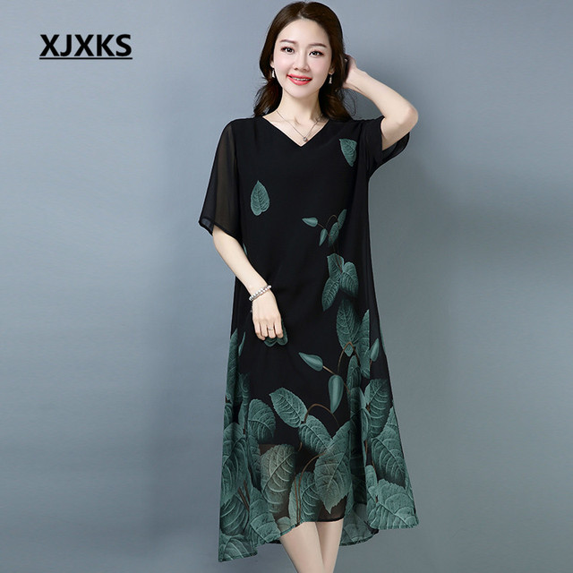 9a8ff9c0a695 XJXKS Ladies Clothing Linen And Chiffon Dress V-neck High-end Loose Hem  Summer Cool Women s Dresses For Gift