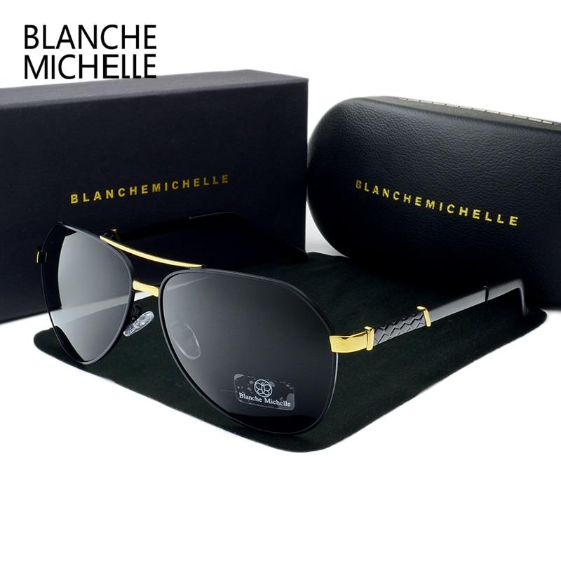 Oculos Sun-Glasses High-Quality Driving Pilot Vintage UV400 Men Polarized with Box