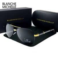 Blanche Michelle 2019 Haute Qualité Pilote lunettes de Soleil Polarisées Hommes UV400 Marque Conduite Lunettes de Soleil Homme Oculos de sol Avec la Boîte