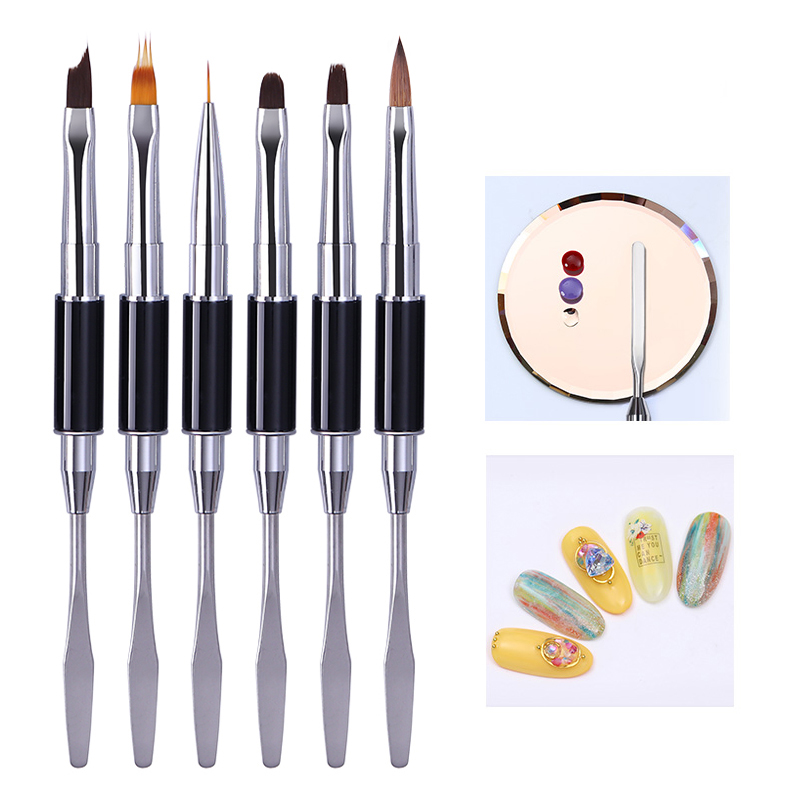 Dual-ended Acrylic Nail Brush Line Flower Pen Painting UV Gel Brush Spatula Tool Design Manicure Nail Art Brush Tool DIY