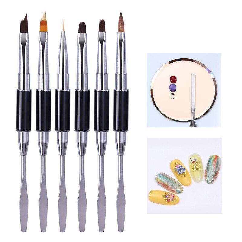 Dual-ended Acrylic Nail Brush Line Flower Pen Painting UV Gel Brush Spatula Tool Design  Nail Art Brush Tool DIY