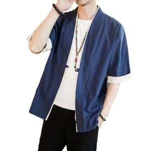 Image 5 - 2020 Men Cotton Linen Jacket China Style Kongfu Coat Male Loose Kimono Cardigan Overcoat Open Stitch Coat Mens Windbreaker 5XL