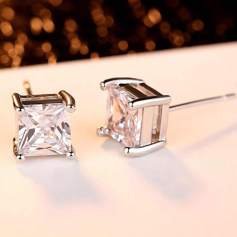 איטליה פשוט עיצוב 6mm אמיתי כיכר מעוקב זירקון Stud עגיל לנשים מסיבת חתונת תכשיטים