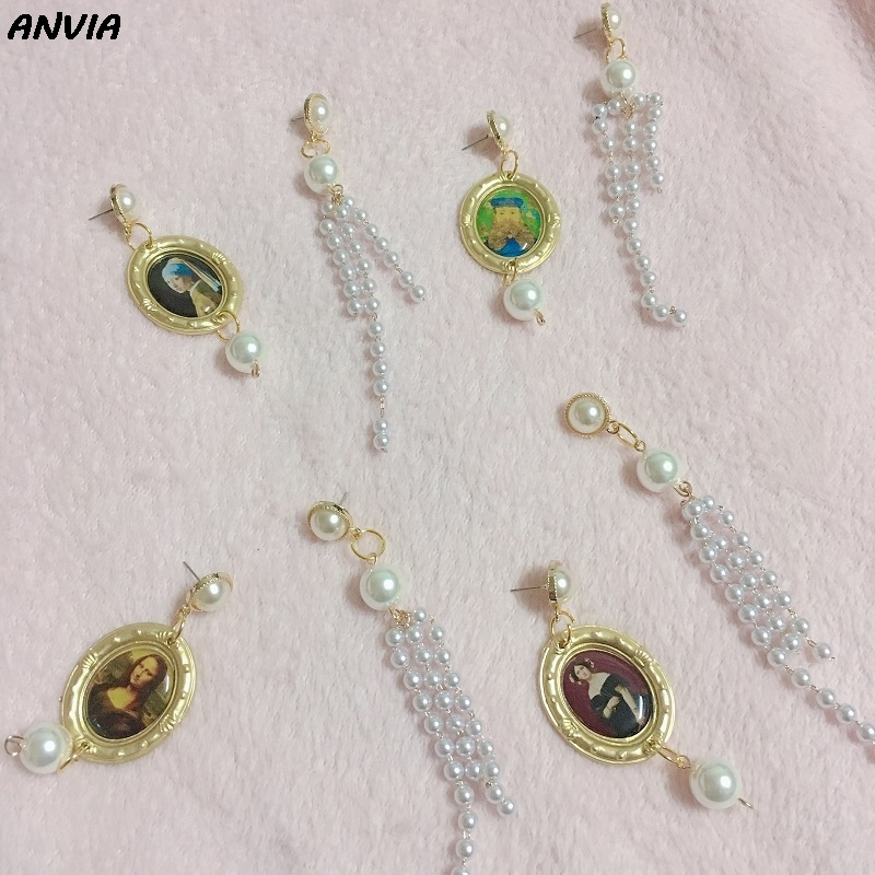 Gold Photo Mona Lisa Tassel Earrings For Women Irregular Baroque Pearl Drop Girls VintageJewelry Gift Wholesale