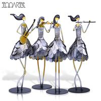 Tooarts 1 Set Singing Girl Band Handmade Metal Sculpture Handicraft Home Decor Creative Ornament Music Instrument Gift