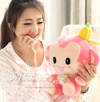 Super Lovely 1pc 28cm Cotton Sweet Pink Banana Monkey Scarf Plush Doll Little Hold Stuffed Toy