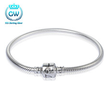 European Style 925 Sterling Silver DIY Beads Braceletsfor Women's Gift Fit Most Jewelry Making Beads and Charms Not Hurt Nails