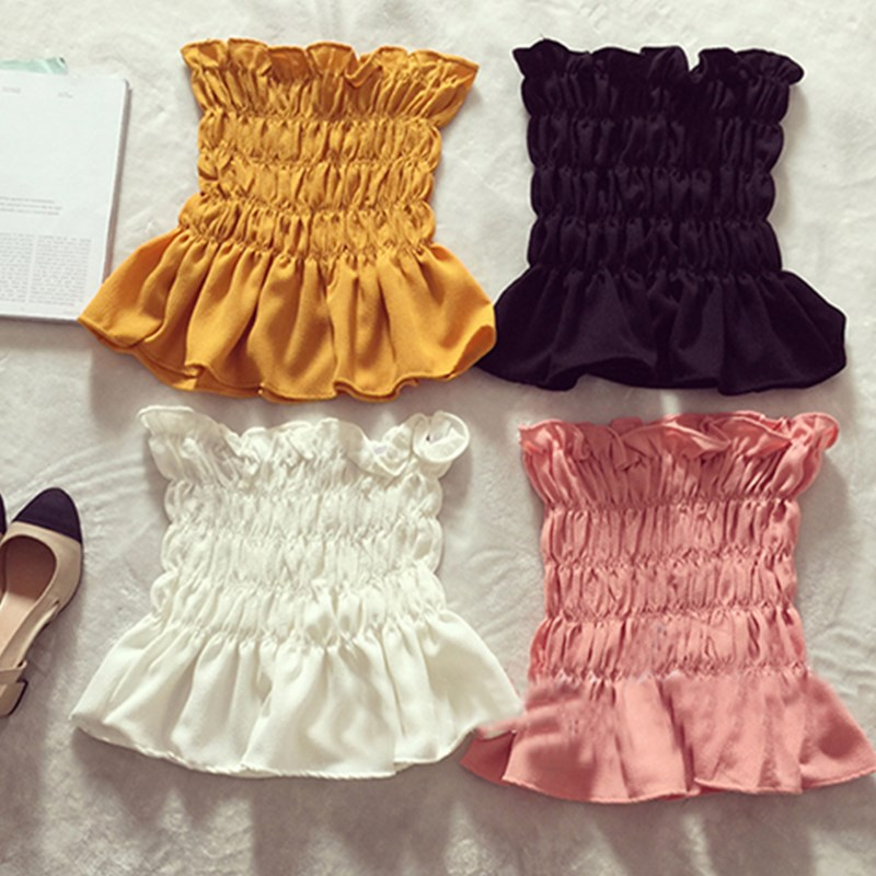 NEW Women Summer Bodycon Stretch Slim Ruffles Off Shoulder Chiffon Blouse Shirts Bandeau Party Club Slim Crop Tops Shirt Outfits