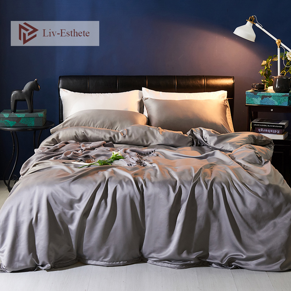 Liv Esthete Luxury Silk Silver Gray Bedding Set Silky Duvet Cover Flat Sheet Pillowcase Bed Linen Double Queen King For Adult in Bedding Sets from Home Garden