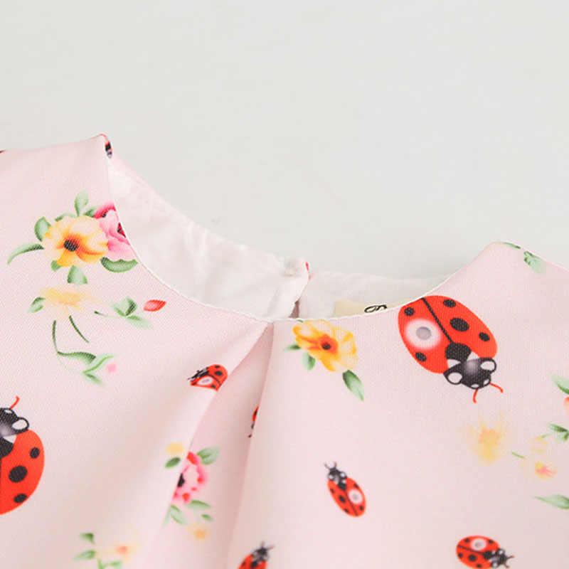 Sodawn/Коллекция 2018 года, весенняя одежда для девочек платье с божьей коровкой в европейском и американском стиле, маленькое платье принцессы с короткими рукавами и принтом детская одежда