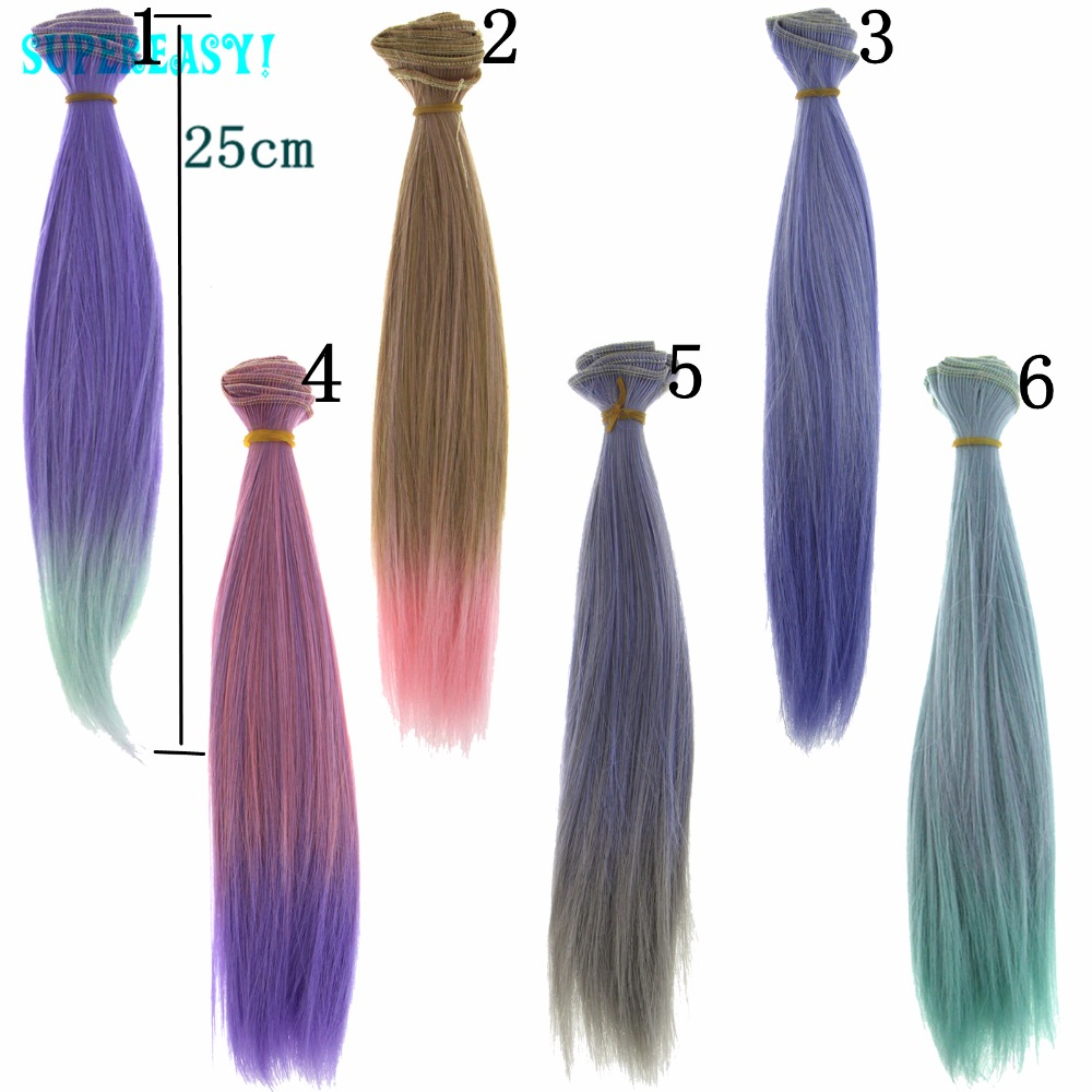 1 Pcs 25CM*100CM BJD Doll Wigs Handmake Multicolor Mazarine Fashion High Temperature Wig DIY Straight Hairs 1/3 1/4  For Barbie fashion black hair extension fur wig 1 3 1 4 1 6 bjd wigs long wig for diy dollfie