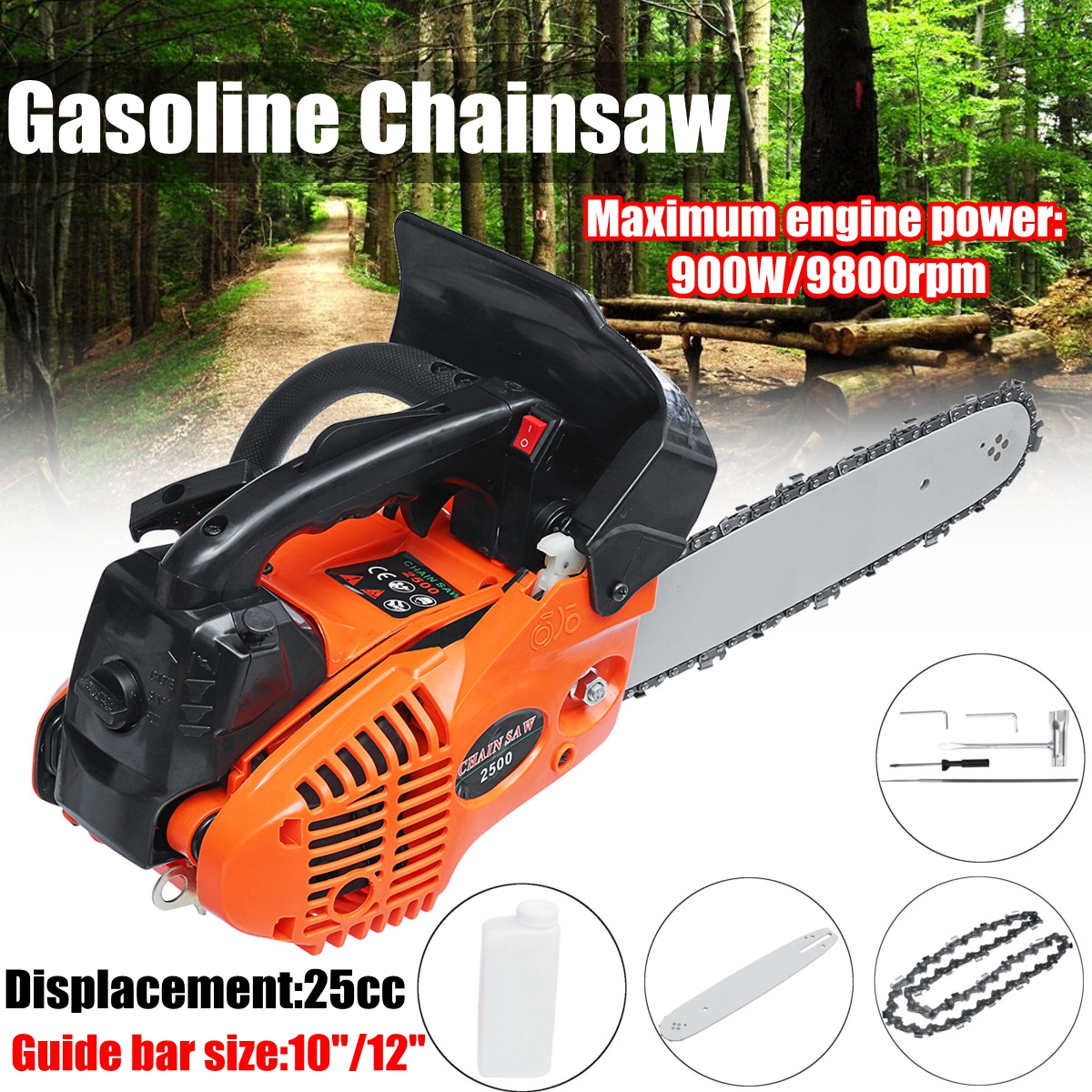 900W 12 Gasoline Chainsaw Machine Cutting Wood 25CC 9800rmp Gas Chain Saw wood cutter chain saw heavy duty gasoline chainsaw 2 stroke 58cc gas chain saw 3000rpm max 10000 rpm eu plug for garden tool