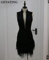 Vintage Black Lace Short Cocktail Dresses 2018 Sheer V Neck Knee Length Vestido de festa curto Short Homecoming Prom Party Dress