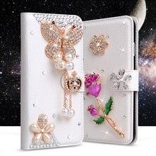 Pour Leagoo M8 Cas Glitter Strass En Cuir Cas Pour Leagoo M5 Plus Flip Diamant Portefeuille Couverture Fleurs Fente Pour Carte Cristal cas