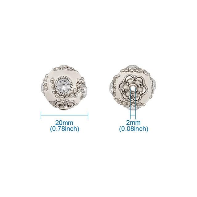 5 pièces 20mm fait à la main indonésien perles rondes argile en vrac bijoux perle pour la fabrication de bijoux bricolage en laiton noyau rond blanc SkyBlue F70