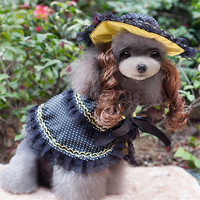 オーストリア王女犬服面白いかつら用ペット犬夏ペット犬衣装プリンセス犬面白い服