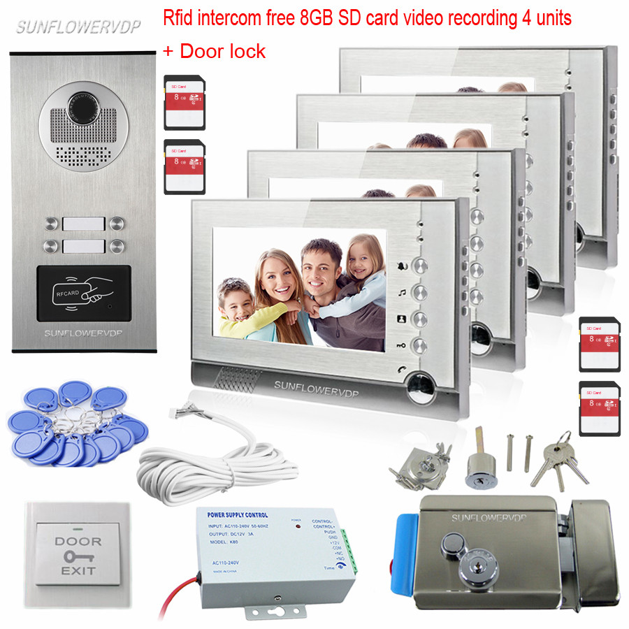 4 Apartments Rfid Video Intercom With Recording Monitor Intercom 8GB SD Card Video Door Entry Panel With Electronic Lock Phone digital electric best rfid hotel electronic door lock for flat apartment