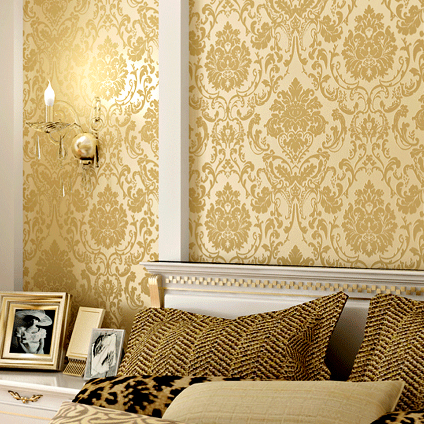 Aliexpress Com Buy Modern European Gold Wallpaper For Walls 3d Flock Printing Wall Paper Bedroom Papel De Parede Of Floral 3d Foil Damask Wallpaper From