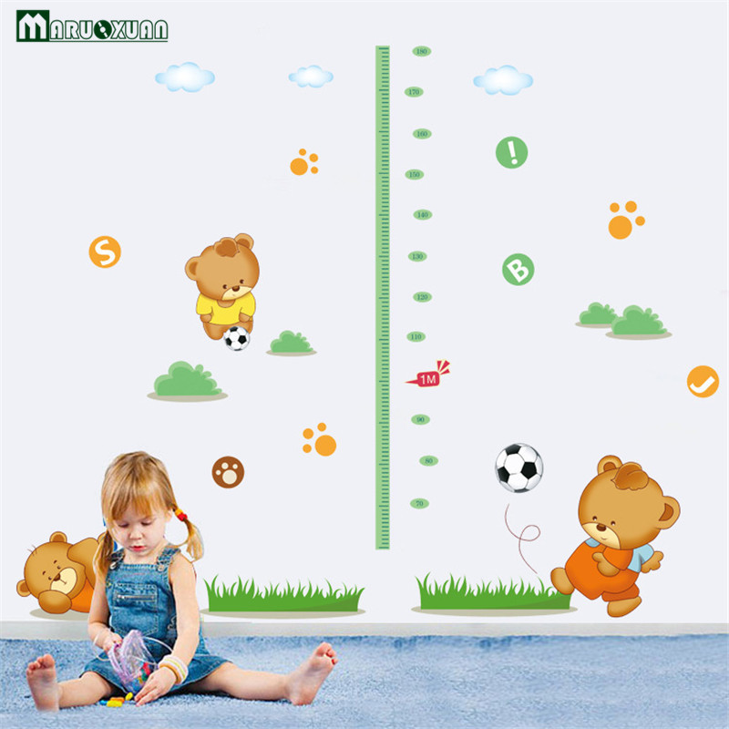 Measuring Height And Stickers Children Cartoon Bear Wall Stickers  Self Adhesive Football Nursery Baby Room Factory Outlets