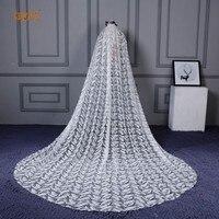 Европейский собор свадебная фата большой хвост Перо Кружево невесты вуали с расческой 4 М длинные один Слои Свадебные аксессуары