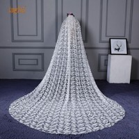 European Cathedral Wedding Veil Large Tail Feather Lace Bride Veils With Comb 4m Long One Layer Wedding Accessories