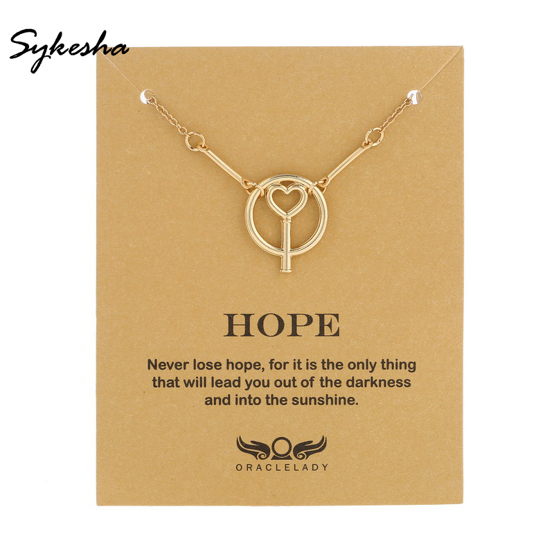 2018 Fashion Beauty Hope Circle Pendant Necklace Hope&Optimism Heart Cross Necklace For Women and Unisex Student Graduation Gift
