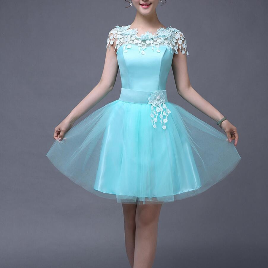 2017 Elegant Padded Short/Mini Bridesmaid Dresses Aqua Blue Color ...