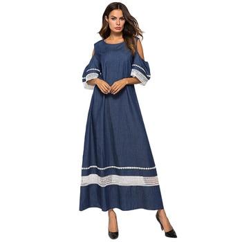 Women Fashion High Waist Plus Szie Muslim Splice Long Sleeve Dress Islam Jilbab Elegant Design Maxi Dresses Clothes z0415