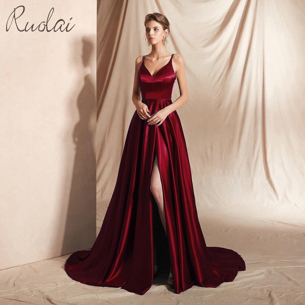 Matériau réfléchi longues robes de bal 2019 avant fente Spaghetti sangle robe robe de bal pour les femmes robe formelle vestidos de fiesta