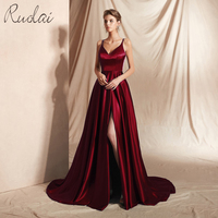 Reflected material Long Prom Dresses 2019 Front Slit Spaghetti Strap Dress Prom Gown For Women Formal Dress vestidos de fiesta