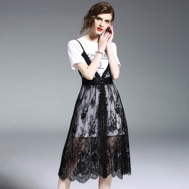 0c98ed045 women's summer dresses 2018 new arrival high quality lady's petite clothing  beautiful casual black lace slim two piece dress-in Dresses from Women's ...