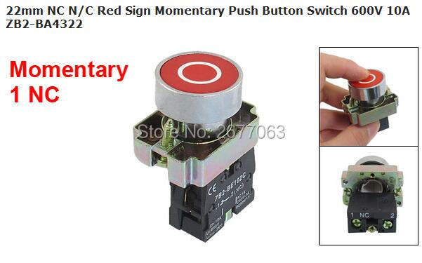 22mm NC N/C Red Sign Momentary Push Button Switch 600V 10A ZB2-BA4322