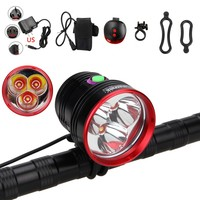 Aluminum Bike Lamp 10000 Lumen 3*XM L 2 LED Front Bike Light Cycling Headlamp + Rechargeable Battery Set + Red Laser Tail Lamp