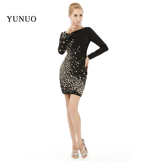 87331e92262 Elegant Sexy Black Evening Dress Stunning Beading Vestido De Festa 100%  Real Photos Long Sleeve Short Prom Dresses 2019