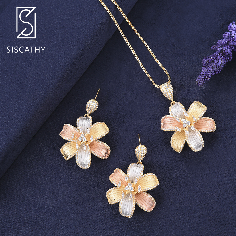 SISCATHY Vivid Blossom Pendant chain necklace Drop Dangle Earrings fashion jewelry set Wedding Jewelry Earrings For Women брюки для беременных topshop 4 22