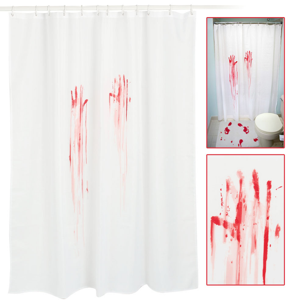 Halloween shower curtain - Halloween Blood Fingerprint Polyester Waterproof Anti Mildew Shower Curtain Bathroom Decor With Hook Decorations
